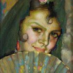 Jóven con abanico,óleo de Ramón Carazo