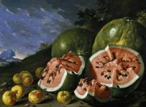 Luis Meléndez, Bodegón con sandias y manzanas en un paisaje, Museo del Prado, Bodegón