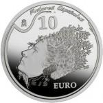 Moneda colección, 10€, óleo Comienzo automático de un retrato de Gala