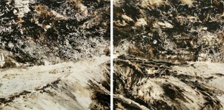 tiempos de betun y plastico 50x150cm tecn- mixta sobre tabla 003