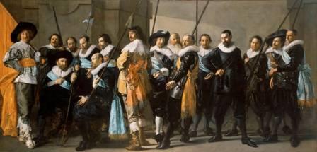 """""""La compañía del capitán Reijnier Reael y el teniente Cornelis Michielsz Blaeuw"""" de Frans Hals y Pieter Codde, (1633-1637). Óleo sobre lienzo, 209 x 429 cm. Ámsterdam, Rijksmuseum. Préstamo de la Ciudad de Ámsterdam"""