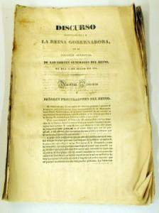 DISCURSO ANTES LAS CORTES DE 24 DE JULIO DE 1834 224x300 La cápsula del tiempo en la Real Casa de Correos