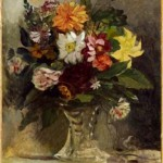 Eugène Delacroix. Jarrón con flores,