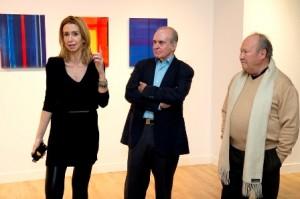 María Porto, Fernando Verdugo y Ramón Bilbao en la presentación a prensa de Geometría emocional