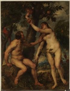 Adan y Eva, Rubens. Antes de su restauración. Museo del Prado.