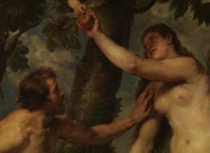 La copia que Rubens realizó de Adán y Eva de Tiziano. Restauración , antes. Museo del Prado