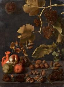 3 Bodegón con uvas, manzanas, nueces y jarra de terracota. Juan Fernández ''el Labrador''. Coleccion Particular