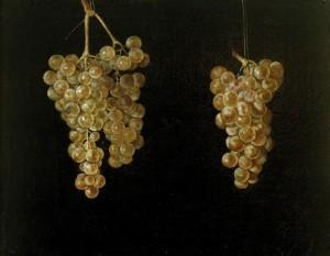4 Dos racimos de uvas colgando. Juan Fernández ''el Labrador''. Mueo del Prado
