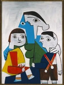 Museo Picasso Malaga. Pablo Picasso, 1881-1973. Maternidad sobre fondo blanco. 4 febrero 1953. Oleo sobre contrachapado,Colección particular.