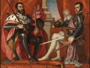 5.Carlos V y Felipe II. Antonio Arias Fernández. Óleo sobre lienzo, 160,5 x 214,5 cm.1639 - 1640.Madrid, Museo Nacional del Prado