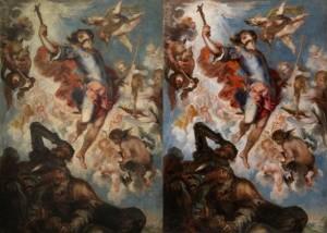 El triunfo de San Hermenegildo de Herrera el Mozo, Goya- Antes y después restauración Prado