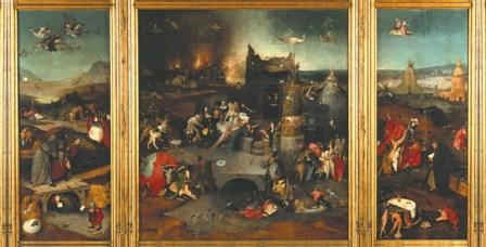 """""""Las tentaciones de san Antonio Abad"""", El Bosco. Óleo sobre tabla de roble, 131,5 x 119 cm, ca. 1500."""