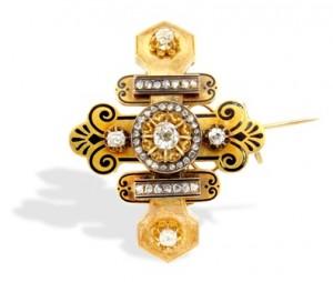 8 Suttons & Robertsons Alfiler siglo XIX, de oro y esmalte, con diamantes talla brillante antigua