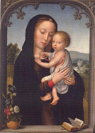 Gérard David, Virgen con el Niño, Patrimonio Nacional,  conservada en el museo del Prado.