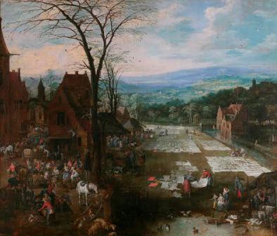 Mercado y lavadero en Flandes. Jan Brueghel, el Viejo; Joos de Momper el Joven. Óleo sobre lienzo, 166 x 194 cm h. 1621 - 1622 Madrid, Museo Nacional del Prado