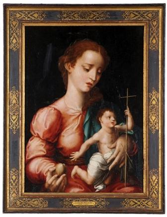 759: LUIS DE MORALES (Badajoz, Extremadura, 1509-1586) VIRGEN DEL HUSO CON UNA MANZANA EN LA MANO Oleo sobre tabla de 50 x 35 cm.  Salida: Consultar Dpto. Arte