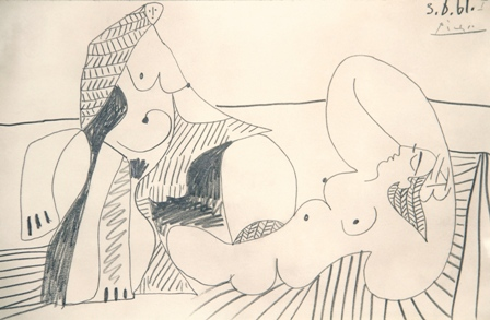 x-Picasso-BAIGNEUSES-Dibujo a lápiz-33 x 50 cm-1961