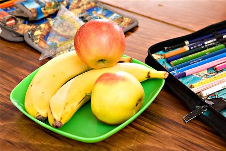 Close-up of Snacks on School Desk