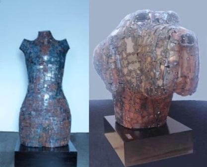 Esculturas de chapas de hierro de Antonio Téllez. La cabeza de perro se expondrá en Centro Cultural de la Vaguada