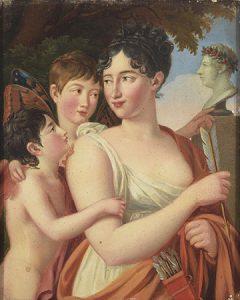 Lote 708:José de Madrazo (1781- 1859). Josefa Tudó, Iº Condesa de Castillo Fiel, con sus hijos Manuel y Luis Godoy, junto a un busto de Manuel Godoy. Óleo sobre tabla, 20,5x 16 cm. Realizado hacia 1812.