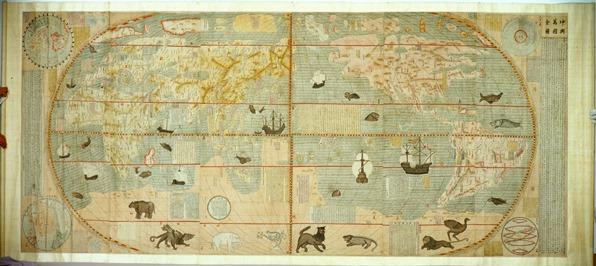 MAPA del sinfín de países del mundo -i-version-dibujada-a-mano-del-mapa-impreso-confeccionado-por-matteo-ricci-en-1602-