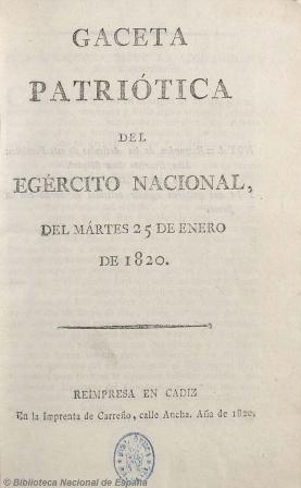 Gaeta patriótica del egército nacional, 1820